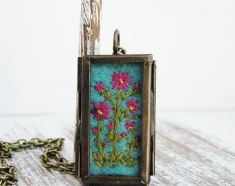 Embroidered Locket Dianthus Flowers