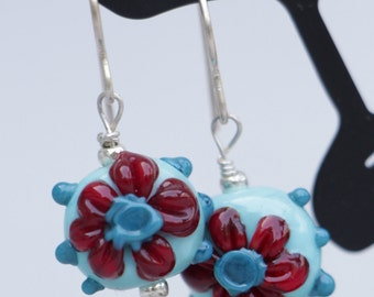 Turquoise with Red Coral Daisy Flower Lampworking Sterling Silver Earrings
