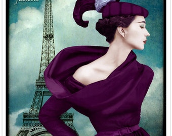 fashion photography, typography, vintage photograph, mid century, paris, pink, steel blue, architecture, retro, pink, purple