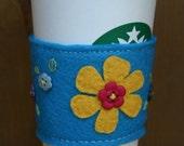 SALE 25% OFF Bright Floral Felt Cup Cozy