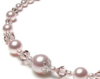 Rose Chiffon Swarovski Pearl and Crystal Wedding Necklace, Pink Pearl Wedding Necklace, Swarovski Pearl Necklace, Crystal Wedding Jewelry