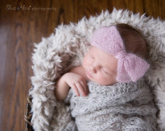 Newborn Photo Prop Headwrap, Lavender Mohair Silk Knit Bow Headband Baby Girl Photo Prop Purple Bow, Newborn to Small Baby Size (Item 1641)