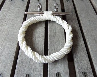 Rope Towel Ring With Stainless Steel Cleat Nautical Bathroom or Kitchen Fixture Marine Beach Towel Holder