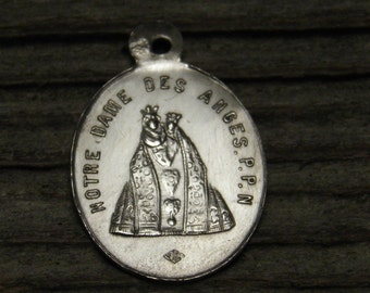"OUR LADY of the ANGELS Vintage Religious Medal on 18"" sterling silver rolo chain"