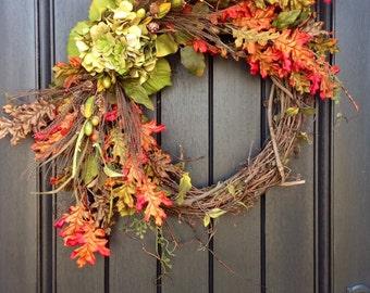 Fall Wreath-Autumn Wreath Berry-Twig-Holiday Wreath- Grapevine Door Decor-Fall Decor-Fall Leaves-Monogrammed Decoration-Wispy Wreath