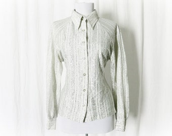 Vintage 60s Mod Space Age Metallic Top Blouse M Silver White Striped Long Sleeve Pointed Collar