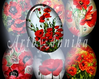 Poppies  - 132 18 x 13mm JPG images - Digital Collage Sheet