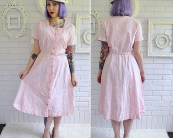 Vintage 1960s Pink Floral Linen Dress by Young Size Medium