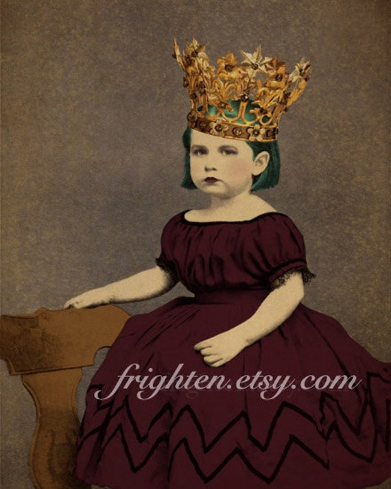 Princess Art, Mixed Media Collage, 5x7 Print, Small Wall Art, Girlie Decor, Wine and Gold, Gold Crown Art, Victorian Child