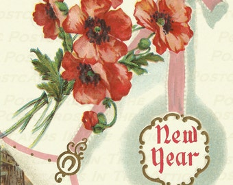 Antique Postcard New Year Greetings Red Poppies -Floral -Digital Art -Scrapbooking, Card Making & Crafts - INSTANT Download JPG + Bonus PNG