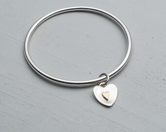 Sterling Silver Bangle - Heart bangle - Gold Heart Bangle - Solid Silver - FLUTTER -
