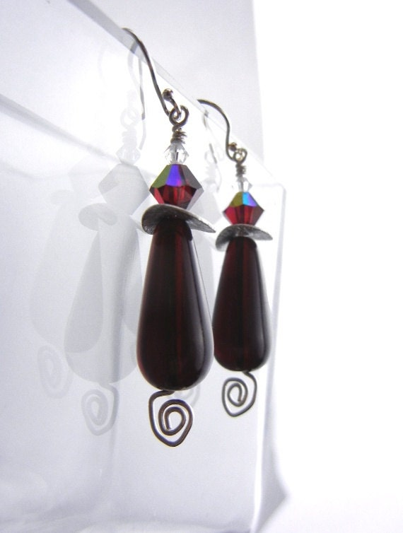 Dark red Merlot earrings with crystals and sterling silver spirals