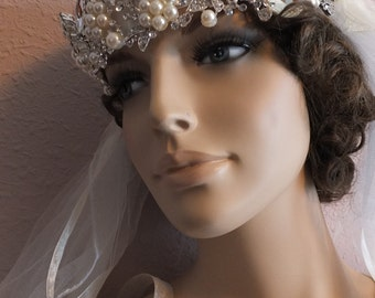 1920s 1930s Flapper gatsby pearl rhinestone beaded wedding head piece tiara veil