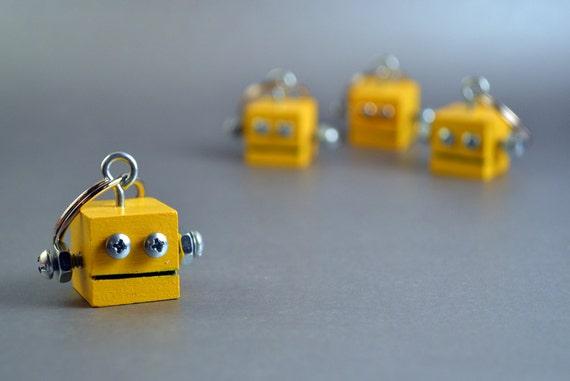 Robot Key Ring, Functional Art, Yellow