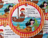 Set of 12 Personalized Favor Tags -Mermaid and Pirate-Thank You Tag -Gift Tag -Baby Shower -Birthday-Sticker-School Treats -Under the Sea