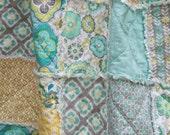 Crib Rag Quilt Gender Neutral Crib Bedding Gray Aqua Yellow Nursery
