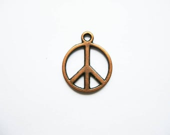 10 Peace Sign Charms in Copper Tone - C1409