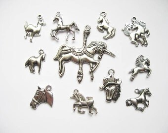 11 Horse Charms - Collection in Silver Tone - C1923