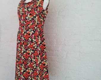 1960s Black Floral Cotton Fit and Flare Day Dress 60s Vintage Poppy Raspberry Daisy Ruffle Collar Sundress Large Summer Garden Party Dress