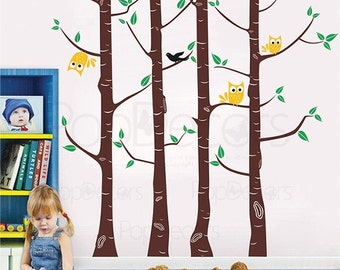 Vinyl Wall Tree Decals Baby Nursery Decal Owl Decals Wall Sticker- Birch Trees Owls and Birds (102 inch H) -Designed by Pop Decors