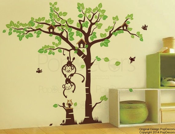 "Monkeys Wall Decal Kids Tree  Stickers Nursery Wall Art Playroom Murals- Playing Monkeys & Squirrel Grassland (83""H) - by Pop Decors pt0105"