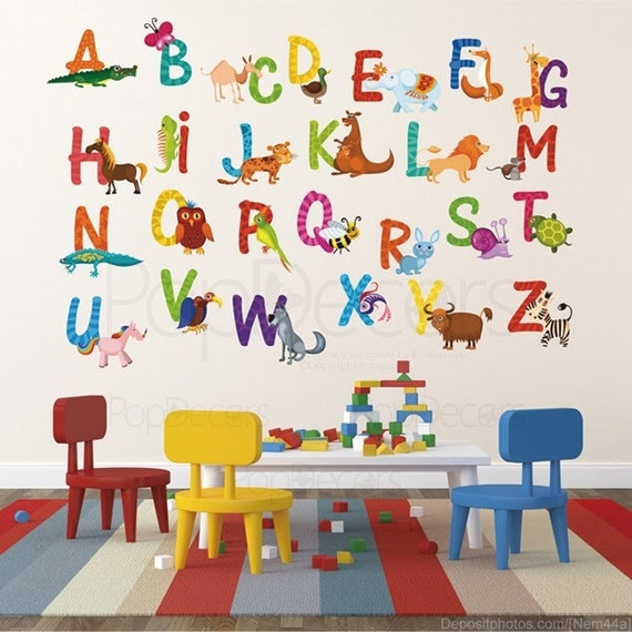 Nursery ABC Alphabet Wall Stickers Children Playroom Wall Decals - 26  Alphabet Sticker - Animal Alphabets