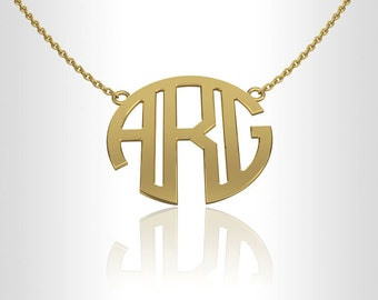 Monogram Necklace, Personalized necklace 14K Gold 1.0 inch gift for her, gifts for bridesmaids