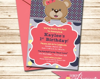 Teddy Bear Themed Girls Birthday Invitation - Choose Your Colors - DIY Printable Invite - Baby Shower - 1st, 2nd, 3rd Birthday Party