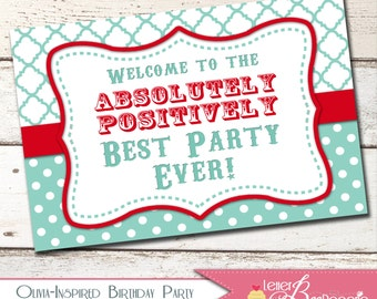Olivia the Pig - Inspired Welcome Sign - DIY Printable Party Decorations - Choose Your Colors - Olivia / Girls Birthday Parties - Lawn Sign