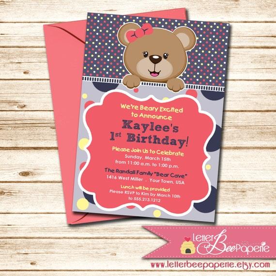 Baby Shower For Third Girl ~ Items similar to teddy bear themed girls birthday