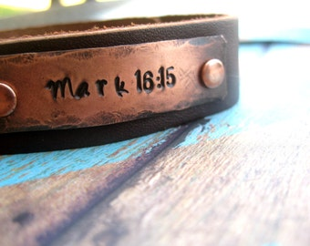 Personalized Bible Verse Leather Bracelet, Copper and Leather Cuff Bracelet