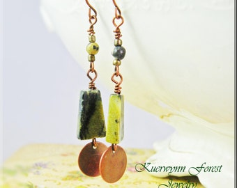 Turquoise, Yellow Turquoise, Serpentine earrings, Gemstone earrings, Geometric, Copper, green, olive, dangle earrings