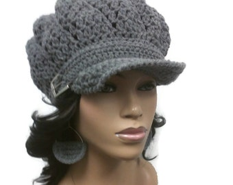 MADE TO ORDER Heather Grey Newsboy Hat/Beanie/Tam with brim and silver buckle (buckle may vary)/free crochet earrings/elastic in Edging