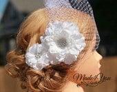White Flower Fascinator Birdcage Veil-Cream Also Available-Wedding Headpiece