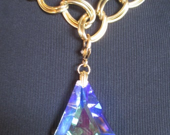 Large Crystal Prism Necklace Chunky Gold Tone Double Chain Adjustable