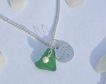 Sea glass necklace. Sea glass jewelry. Sea secrets necklace.