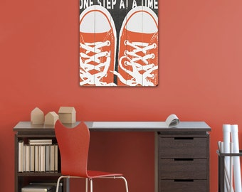Wooden Art Sign Planked One Step At A Time sneakers wall art