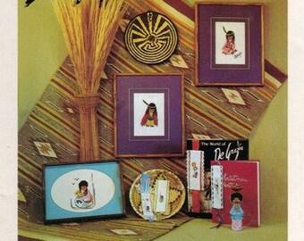 80s DeGrazia in Counted Cross Stitch Book 1 by Sundance Designs Indian Cross Stitch