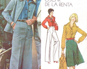70s Oscar De La Renta Womens Jacket, Wide Legged Pants, A Line Skirt and Shirt Vogue Sewing Pattern 1047 Size 12 Bust 34 Vogue Americana