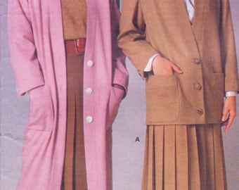 80s Perry Ellis Womens Great Gatsby Coat, Jacket & Skirt Vogue Sewing Pattern 1775 Size 14 Bust 36 UnCut 80s does 20s American Designer
