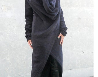 Special Order for Tammy -- MARIA SEVERYNA - The Silhouettes Collection Black Alpaca Blanket Wrap Coat with Oversized Hood