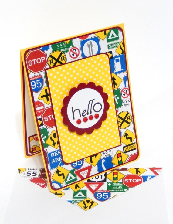 Hello Card with Matching Embellished Envelope- Road Trip