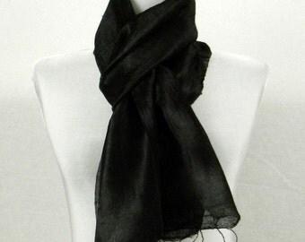 """Thai Raw Pure Silk Scarf  12x62"""" Long Scarf Neck Scarf Handdyed in Black R1"""