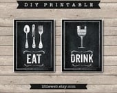 Eat & Drink Printables, Chalkboard Art Print, Kitchen Wine Food Art Instant Download