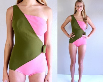 vtg 60s pink, olive AVANT GARDE one shoulder SWIMSUIT Medium mod retro bathing suit two tone swimwear one piece