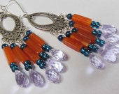 Lilac drops on orange and blue chandelier earrings  E482