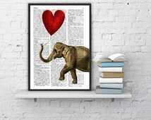 Elephant with a Heart shaped balloon - Love book print  - Elephant in love - Printed over vintage dictionary book page BPAN083b