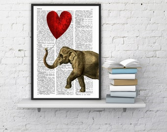 BOGO Sale Elephant with a Heart shaped balloon print  Elephant in love Printed over vintage dictionary book page ANI083b