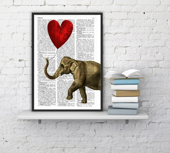 Summer Sale Elephant with a Heart shaped balloon print  Elephant in love Printed over vintage dictionary book page ANI083b