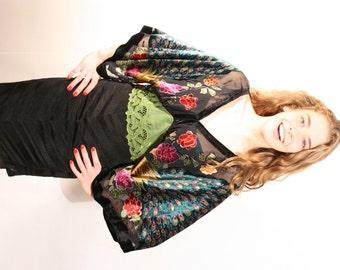 Bat wing KIMONO  boho dress in velvet, japanese style short black dress, evening dresses, short dresses, party dress, black velvet dress